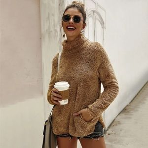 Sweaters - Brown Sherpa Turtleneck Pullover Sweater